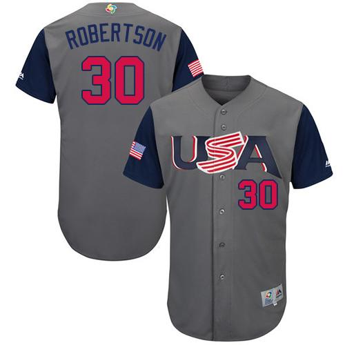 Team USA #30 David Robertson Gray 2017 World MLB Classic Authentic Stitched Youth MLB Jersey