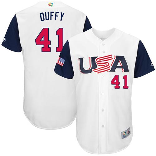 Team USA #41 Danny Duffy White 2017 World MLB Classic Authentic Stitched Youth MLB Jersey