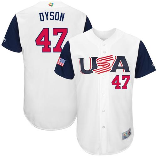 Team USA #47 Sam Dyson White 2017 World MLB Classic Authentic Stitched Youth MLB Jersey