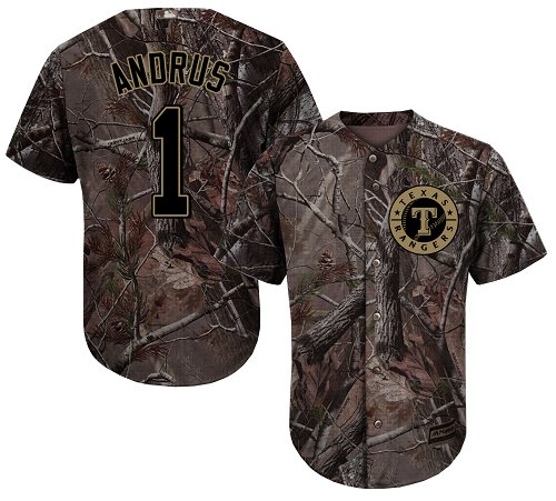 Rangers #1 Elvis Andrus Camo Realtree Collection Cool Base Stitched Youth MLB Jersey