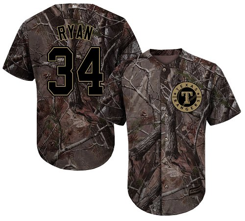 Rangers #34 Nolan Ryan Camo Realtree Collection Cool Base Stitched Youth MLB Jersey