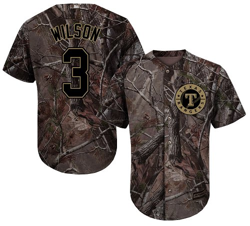 Rangers #3 Russell Wilson Camo Realtree Collection Cool Base Stitched Youth MLB Jersey