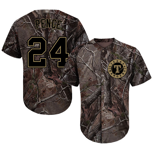 Rangers #24 Hunter Pence Camo Realtree Collection Cool Base Stitched Youth MLB Jersey