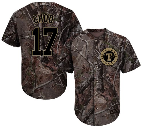 Rangers #17 Shin-Soo Choo Camo Realtree Collection Cool Base Stitched Youth MLB Jersey