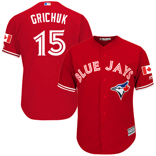 Blue Jays #15 Randal Grichuk Red Cool Base Canada Day Stitched Youth MLB Jersey