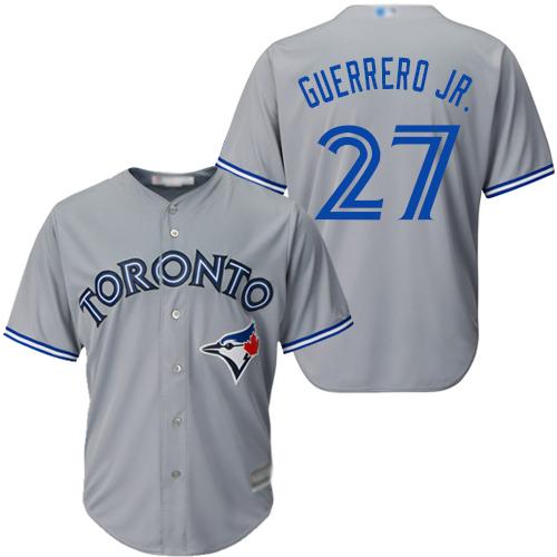 Blue Jays #27 Vladimir Guerrero Jr. Grey Cool Base Stitched Youth MLB Jersey