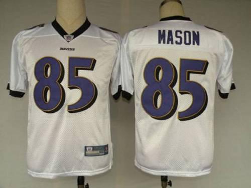 Ravens #85 Derrick Mason White Stitched Youth NFL Jersey