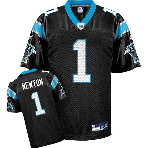 Panthers #1 Cam Newton Black Stitched Youth NFL Jersey