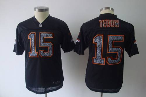 Sideline Black United Broncos #15 Tim Tebow Black Stitched Youth NFL Jersey