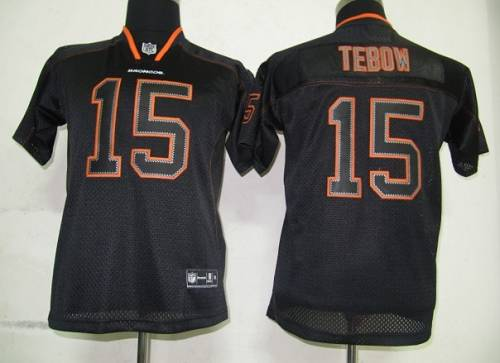 Broncos #15 Tim Tebow Lights Out Black Stitched Youth NFL Jersey