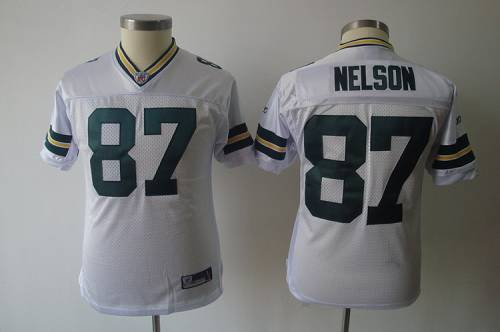 Packers #87 Jordy Nelson White Stitched Youth NFL Jersey