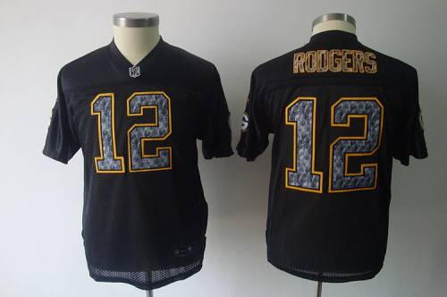 Sideline Black United Packers #12 Aaron Rodgers Stitched Youth NFL Jersey