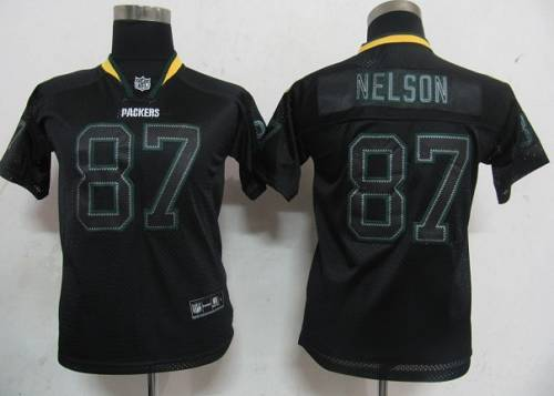 Packers #87 Jordy Nelson Lights Out Black Stitched Youth NFL Jersey