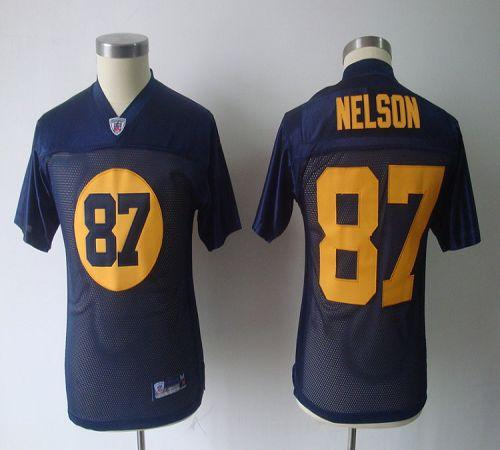 Packers #87 Jordy Nelson Blue Stitched Youth NFL Jersey