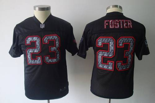 Sideline Black United Texans #23 Arian Foster Stitched Youth NFL Jersey