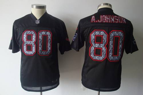 Sideline Black United Texans #80 A.Johnson Stitched Youth NFL Jersey