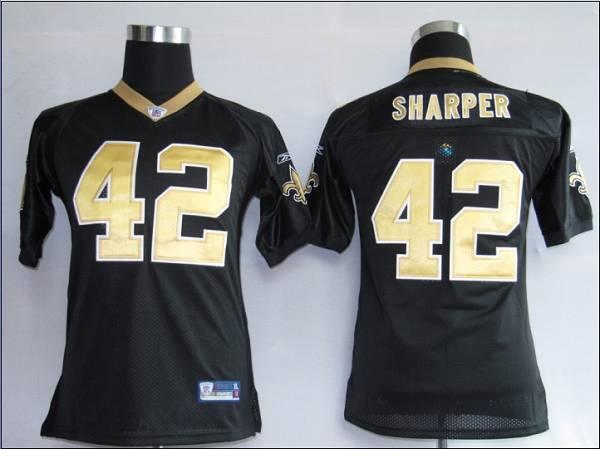 Saints #42 Darren Sharper Black Stitched Youth NFL Jersey