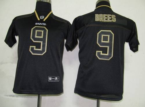 Saints #9 Drew Brees Lights Out Black Stitched Youth NFL Jersey