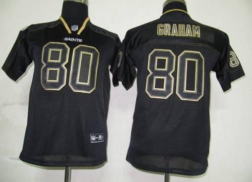 Saints #80 Jimmy Graham Lights Out Black Stitched Youth NFL Jersey