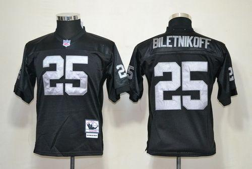 Mitchell And Ness Raiders #25 Fred Biletnikoff Black Throwback Stitched Youth NFL Jersey