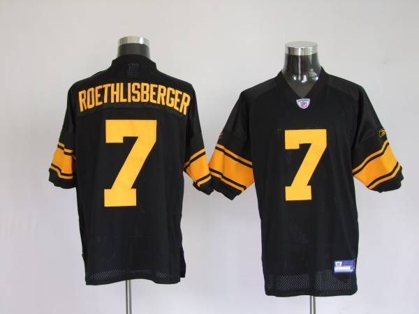 Steelers #7 Ben Roethlisberger Black With Yellow Number Stitched Youth NFL Jersey