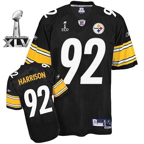 Steelers #92 James Harrison Black Super Bowl XLV Stitched Youth NFL Jersey
