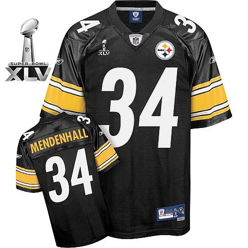 Steelers #34 Rashard Mendenhall Black Super Bowl XLV Stitched Youth NFL Jersey