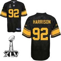 Steelers #92 James Harrison Black With Yellow Number Super Bowl XLV Stitched Youth NFL Jersey