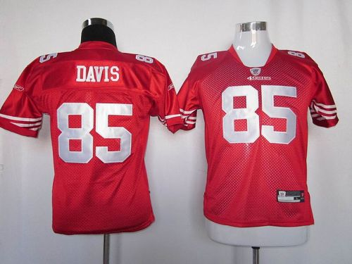 49ers #85 Vernon Davis Red Stitched Youth NFL Jersey