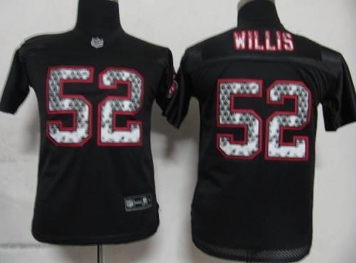 Sideline Black United 49ers #52 Patrick Willis Black Stitched Youth NFL Jersey