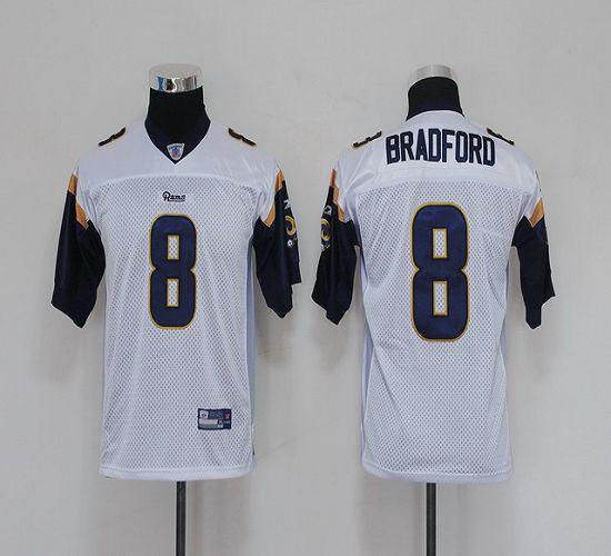 Rams #8 Sam Bradford White Stitched Youth NFL Jersey