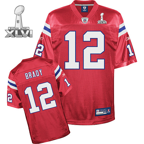 Patriots #12 Tom Brady Red Super Bowl XLVI Embroidered Youth NFL Jersey
