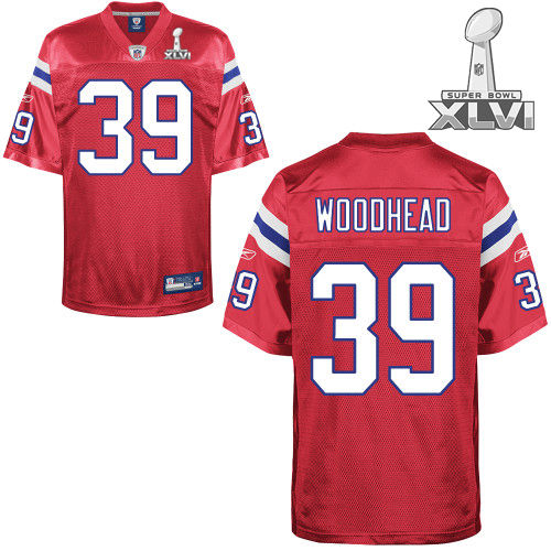 Patriots #39 Danny Woodhead Red Super Bowl XLVI Embroidered Youth NFL Jersey