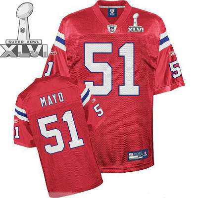 Patriots #51 Jerod Mayo Red Super Bowl XLVI Embroidered Youth NFL Jersey