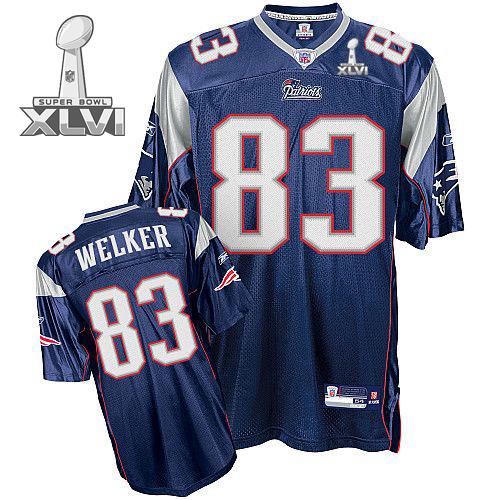 Patriots #83 Wes Welker Blue Super Bowl XLVI Embroidered Youth NFL Jersey