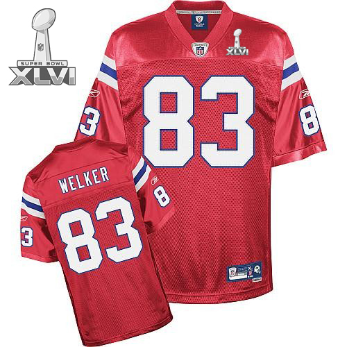 Patriots #83 Wes Welker Red Super Bowl XLVI Embroidered Youth NFL Jersey