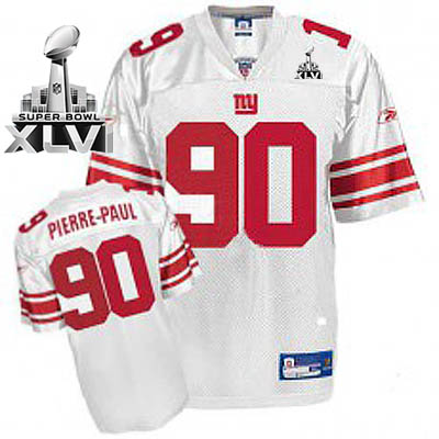 Giants #90 Jason Pierre-Paul White Super Bowl XLVI Embroidered Youth NFL Jersey
