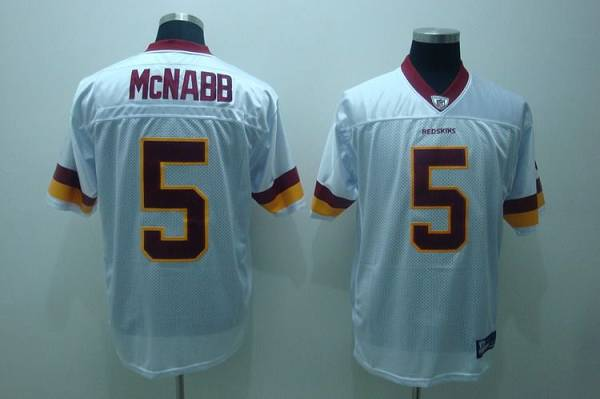 Redskins #5 Donovan McNabb White Embroidered Youth NFL Jersey