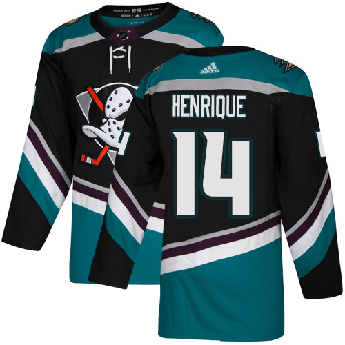 Adidas Ducks #14 Adam Henrique Black/Teal Alternate Authentic Youth Stitched NHL Jersey