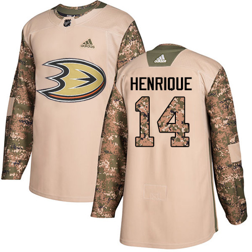 Adidas Ducks #14 Adam Henrique Camo Authentic 2017 Veterans Day Youth Stitched NHL Jersey