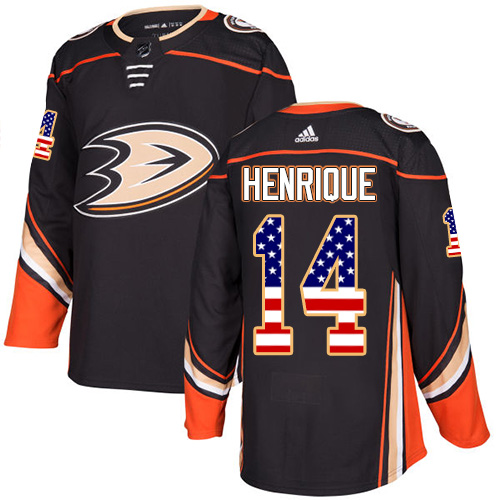 Adidas Ducks #14 Adam Henrique Black Home Authentic USA Flag Youth Stitched NHL Jersey