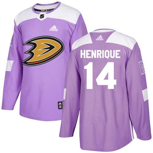 Adidas Ducks #14 Adam Henrique Purple Authentic Fights Cancer Youth Stitched NHL Jersey