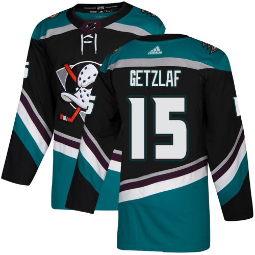 Adidas Ducks #15 Ryan Getzlaf Black/Teal Alternate Authentic Youth Stitched NHL Jersey