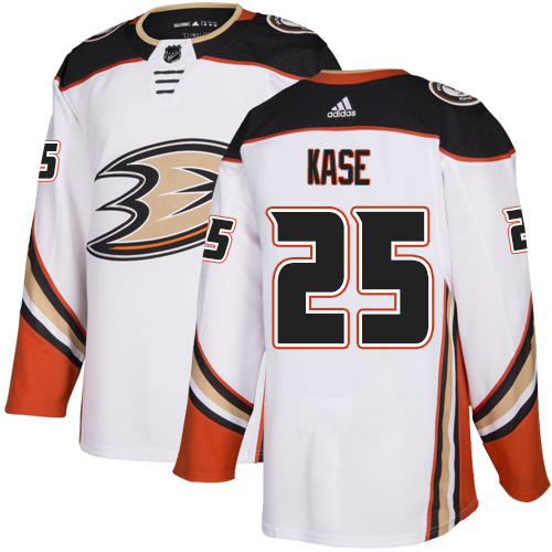 Adidas Ducks #25 Ondrej Kase White Road Authentic Youth Stitched NHL Jersey
