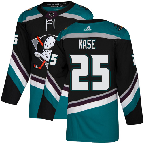 Adidas Ducks #25 Ondrej Kase Black/Teal Alternate Authentic Youth Stitched NHL Jersey