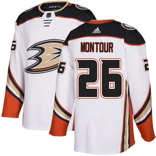 Adidas Ducks #26 Brandon Montour White Road Authentic Youth Stitched NHL Jersey