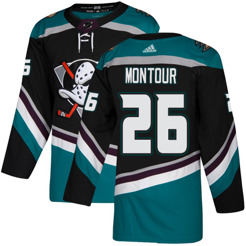 Adidas Ducks #26 Brandon Montour Black/Teal Alternate Authentic Youth Stitched NHL Jersey