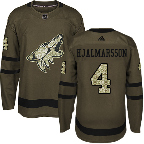 Adidas Coyotes #4 Niklas Hjalmarsson Green Salute to Service Stitched Youth NHL Jersey