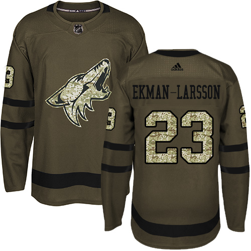 Adidas Coyotes #23 Oliver Ekman-Larsson Green Salute to Service Stitched Youth NHL Jersey