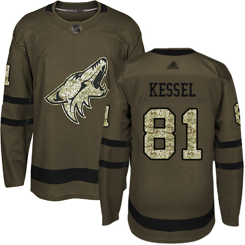 Adidas Coyotes #81 Phil Kessel Green Salute to Service Stitched Youth NHL Jersey